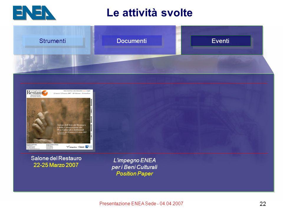 Presentazione ENEA Sede - 04.04.2007 22 Le attività svolte Strumenti Documenti Eventi Salone del Restauro 22-25 Marzo 2007 Limpegno ENEA per i Beni Cu