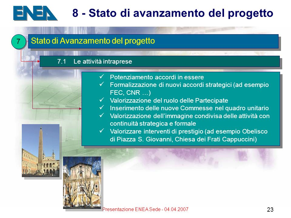 Presentazione ENEA Sede - 04.04.2007 23 8 - Stato di avanzamento del progetto 7.1 Le attività intraprese Potenziamento accordi in essere Formalizzazione di nuovi accordi strategici (ad esempio FEC, CNR …) Valorizzazione del ruolo delle Partecipate Inserimento delle nuove Commesse nel quadro unitario Valorizzazione dellimmagine condivisa delle attività con continuità strategica e formale Valorizzare interventi di prestigio (ad esempio Obelisco di Piazza S.
