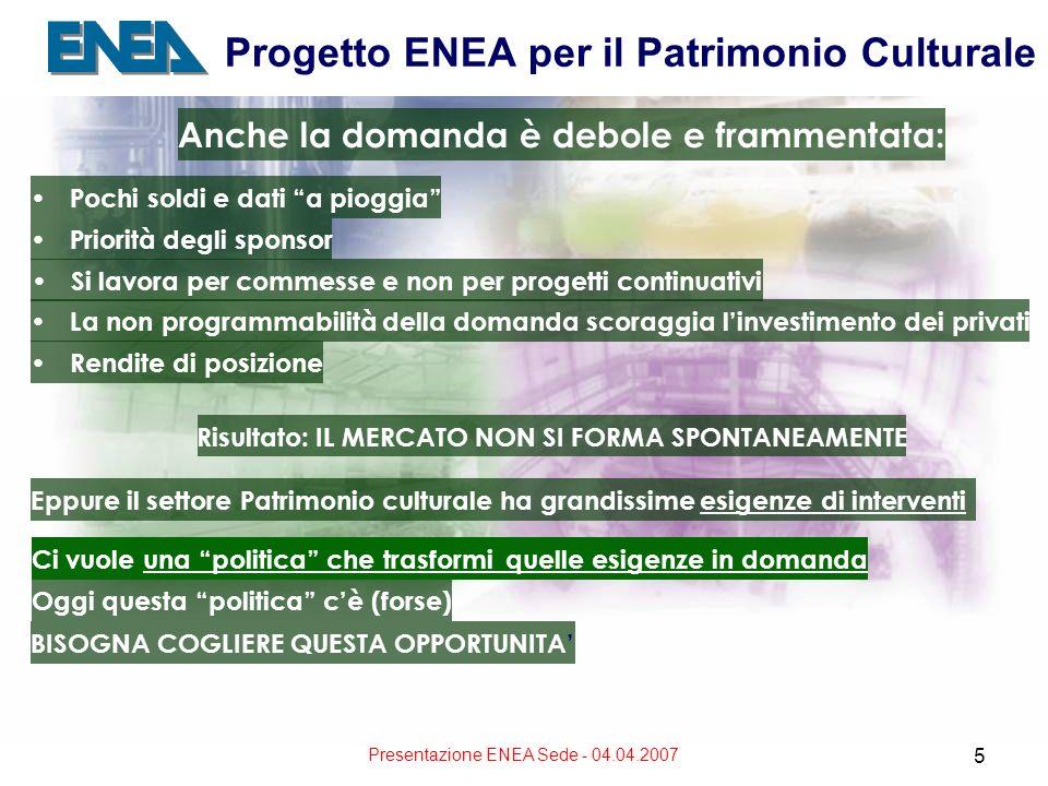 Presentazione ENEA Sede - 04.04.2007 5 Progetto ENEA per il Patrimonio Culturale Anche la domanda è debole e frammentata: Pochi soldi e dati a pioggia