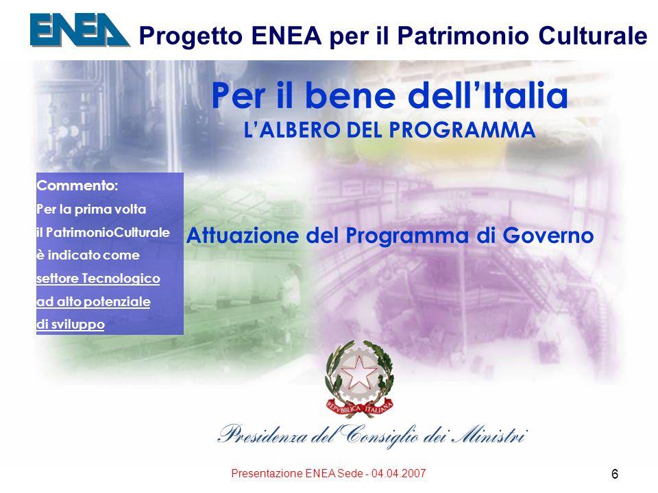 Presentazione ENEA Sede - 04.04.2007 6 Progetto ENEA per il Patrimonio Culturale Per il bene dellItalia LALBERO DEL PROGRAMMA Attuazione del Programma di Governo Commento: Per la prima volta il PatrimonioCulturale è indicato come settore Tecnologico ad alto potenziale di sviluppo