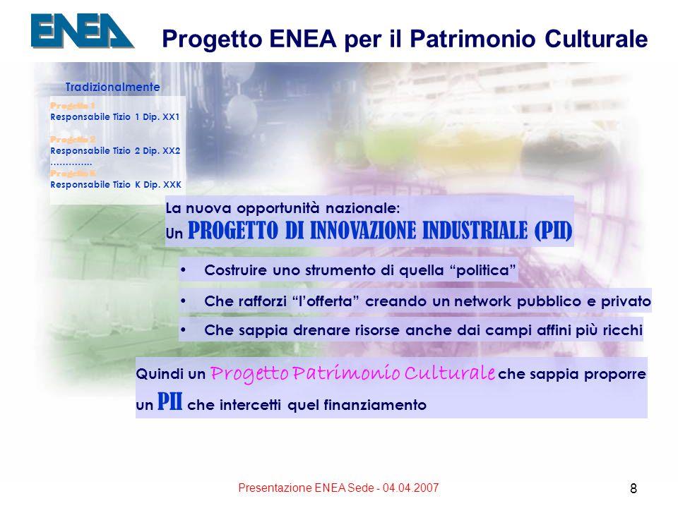 Presentazione ENEA Sede - 04.04.2007 8 Progetto ENEA per il Patrimonio Culturale Tradizionalmente Progetto 1 Responsabile Tizio 1 Dip. XX1 Progetto 2