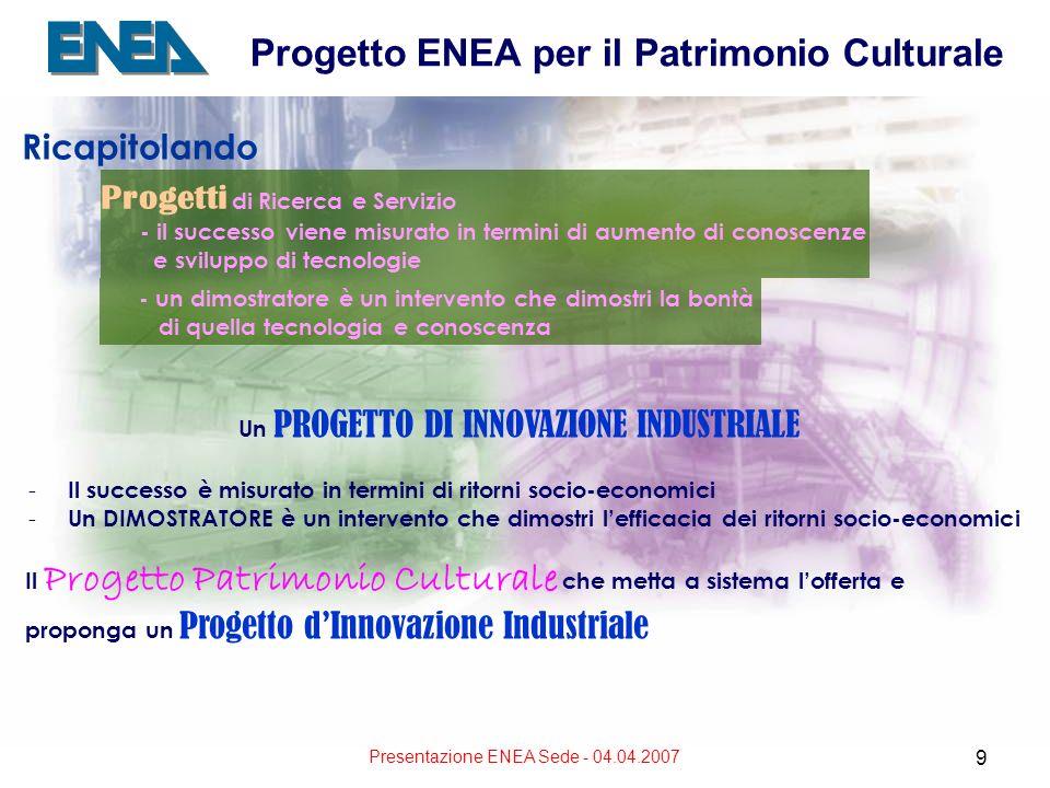Presentazione ENEA Sede - 04.04.2007 9 Progetto ENEA per il Patrimonio Culturale Ricapitolando Progetti di Ricerca e Servizio - il successo viene misurato in termini di aumento di conoscenze e sviluppo di tecnologie - un dimostratore è un intervento che dimostri la bontà di quella tecnologia e conoscenza Un PROGETTO DI INNOVAZIONE INDUSTRIALE - Il successo è misurato in termini di ritorni socio-economici - Un DIMOSTRATORE è un intervento che dimostri lefficacia dei ritorni socio-economici Il Progetto Patrimonio Culturale che metta a sistema lofferta e proponga un Progetto dInnovazione Industriale