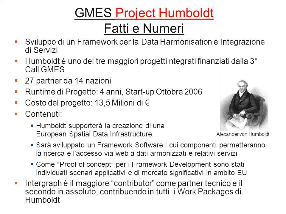 GMES Project Humboldt Fatti e Numeri Sviluppo di un Framework per la Data Harmonisation e Integrazione di Servizi Humboldt è uno dei tre maggiori progetti ntegrati finanziati dalla 3° Call GMES 27 partner da 14 nazioni Runtime di Progetto: 4 anni, Start-up Ottobre 2006 Costo del progetto: 13,5 Milioni di Contenuti: Humboldt supporterà la creazione di una European Spatial Data Infrastructure Sarà sviluppato un Framework Software I cui componenti permetteranno la ricerca e laccesso via web a dati armonizzati e relativi servizi Come Proof of concept per i Framework Development sono stati individuati scenari applicativi e di mercato significativi in ambito EU Intergraph è il maggiore contributor come partner tecnico e il secondo in assoluto, contribuendo in tutti i Work Packages di Humboldt Alexander von Humboldt