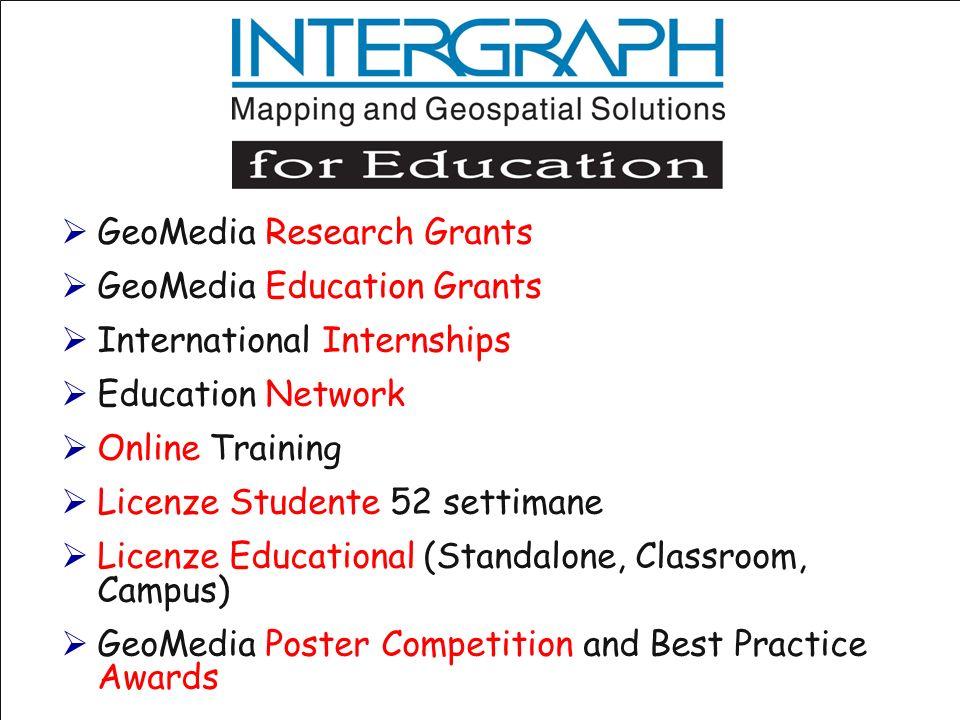 GeoMedia Research Grants GeoMedia Education Grants International Internships Education Network Online Training Licenze Studente 52 settimane Licenze E