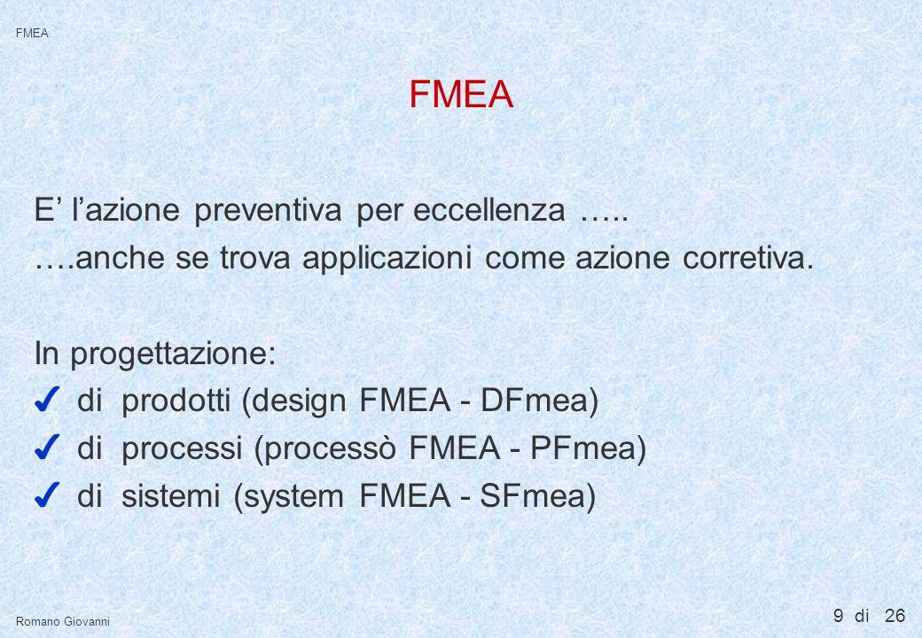 9 di 26 FMEA Romano Giovanni FMEA E lazione preventiva per eccellenza ….. ….anche se trova applicazioni come azione corretiva. In progettazione: 4di p