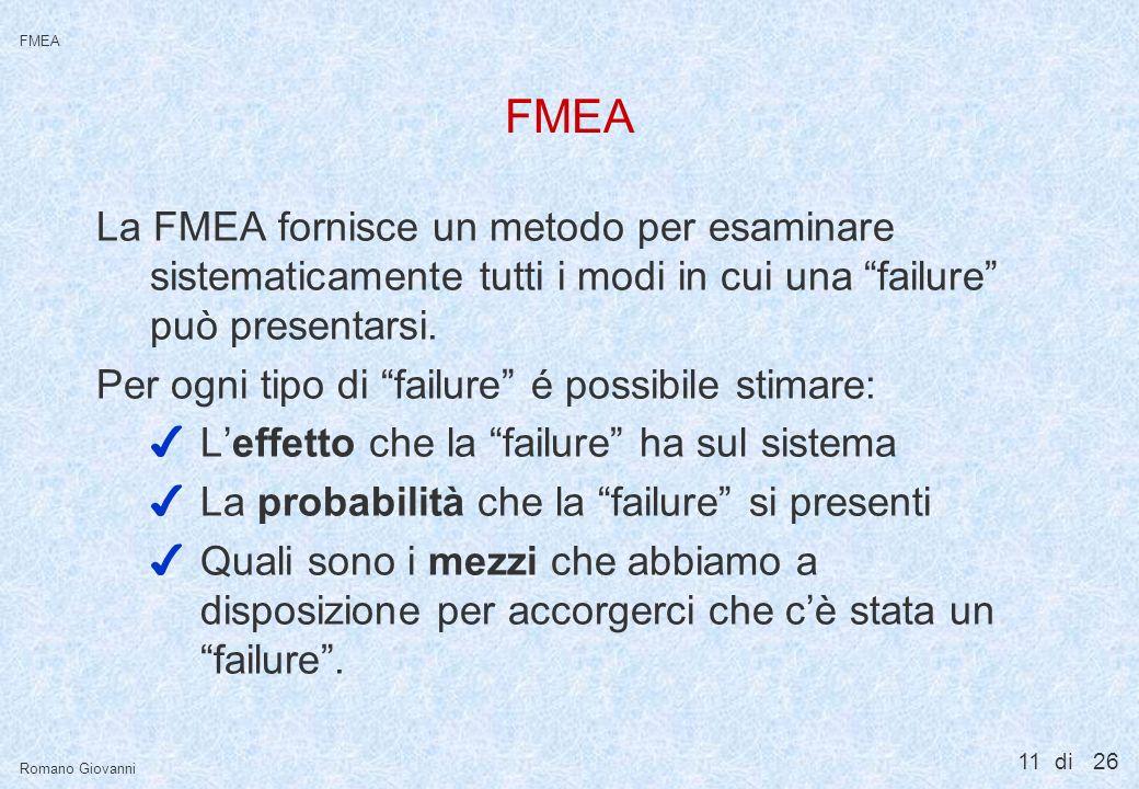 11 di 26 FMEA Romano Giovanni FMEA La FMEA fornisce un metodo per esaminare sistematicamente tutti i modi in cui una failure può presentarsi. Per ogni