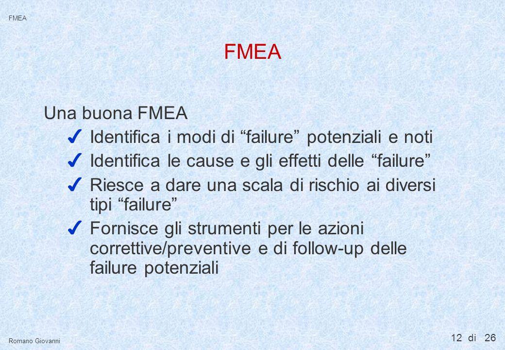 12 di 26 FMEA Romano Giovanni FMEA Una buona FMEA 4Identifica i modi di failure potenziali e noti 4Identifica le cause e gli effetti delle failure 4Ri