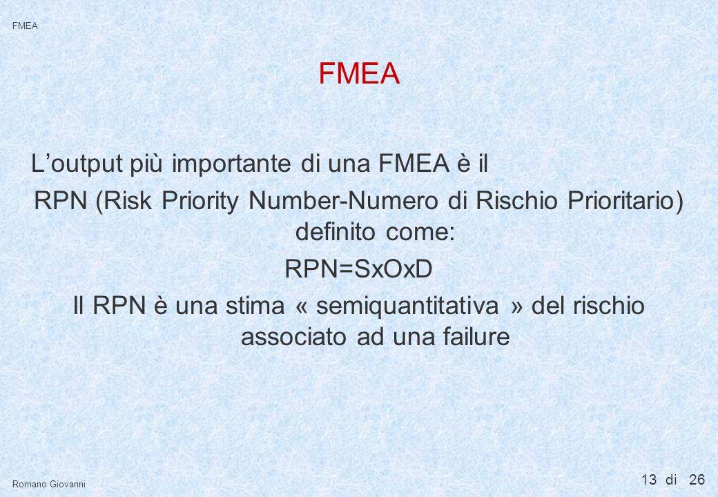 13 di 26 FMEA Romano Giovanni FMEA Loutput più importante di una FMEA è il RPN (Risk Priority Number-Numero di Rischio Prioritario) definito come: RPN