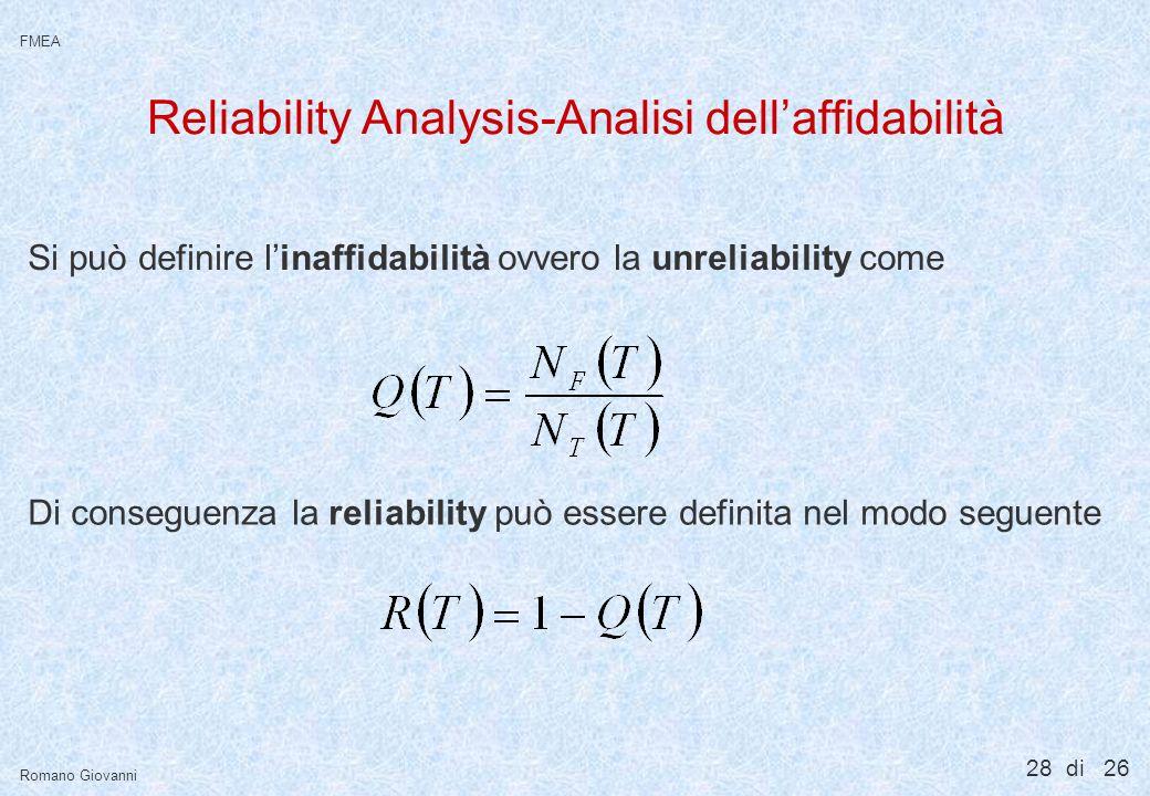 28 di 26 FMEA Romano Giovanni Reliability Analysis-Analisi dellaffidabilità Si può definire linaffidabilità ovvero la unreliability come Di conseguenz