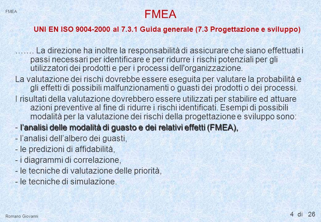 25 di 26 FMEA Romano Giovanni FMEA Il team ideale per condurre una FMEA 4System Engineer 4Safety Engineer 4Test Engineer 4Subsystem Engineer 4Quality Engineer 4Material Engineer 4Tutte le figure che hanno un interfaccia tecnica e manageriale con larea o il processo o il prodotto per il quale si conduce una FMEA.