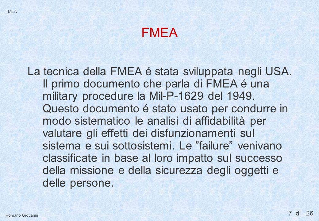 7 di 26 FMEA Romano Giovanni FMEA La tecnica della FMEA é stata sviluppata negli USA. Il primo documento che parla di FMEA é una military procedure la