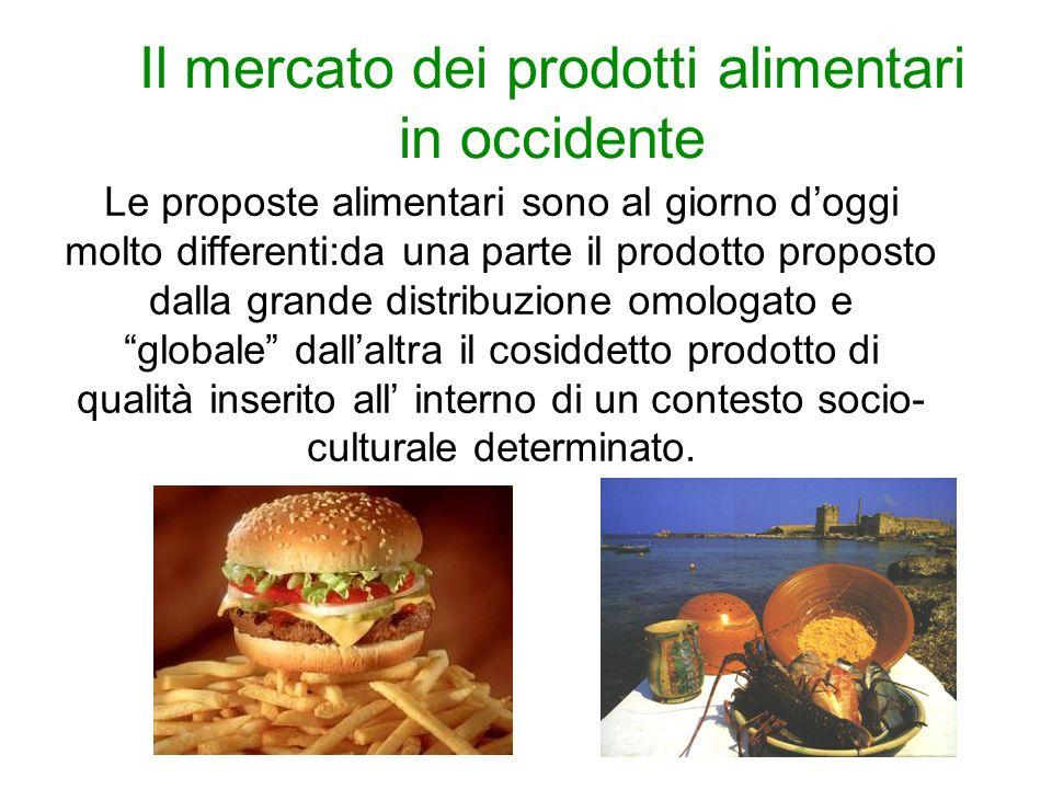 Il mercato dei prodotti alimentari in occidente Le proposte alimentari sono al giorno doggi molto differenti:da una parte il prodotto proposto dalla grande distribuzione omologato e globale dallaltra il cosiddetto prodotto di qualità inserito all interno di un contesto socio- culturale determinato.