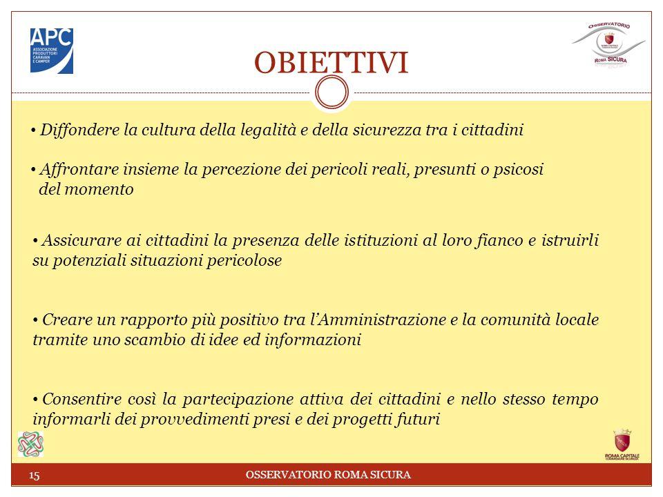 OBIETTIVI Diffondere la cultura della legalità e della sicurezza tra i cittadini Affrontare insieme la percezione dei pericoli reali, presunti o psico
