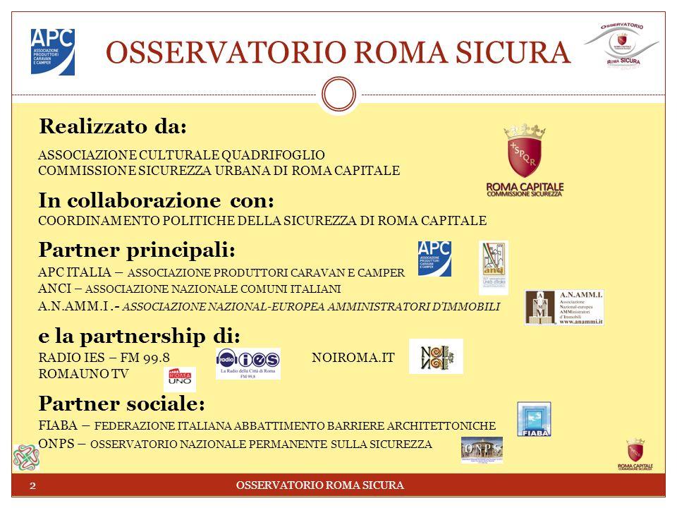 OSSERVATORIO ROMA SICURA Realizzato da: ASSOCIAZIONE CULTURALE QUADRIFOGLIO COMMISSIONE SICUREZZA URBANA DI ROMA CAPITALE In collaborazione con: COORDINAMENTO POLITICHE DELLA SICUREZZA DI ROMA CAPITALE Partner principali: APC ITALIA – ASSOCIAZIONE PRODUTTORI CARAVAN E CAMPER ANCI – ASSOCIAZIONE NAZIONALE COMUNI ITALIANI A.N.AMM.I.- ASSOCIAZIONE NAZIONAL-EUROPEA AMMINISTRATORI DIMMOBILI e la partnership di: RADIO IES – FM 99.8 NOIROMA.IT ROMAUNO TV Partner sociale: FIABA – FEDERAZIONE ITALIANA ABBATTIMENTO BARRIERE ARCHITETTONICHE ONPS – OSSERVATORIO NAZIONALE PERMANENTE SULLA SICUREZZA 2 OSSERVATORIO ROMA SICURA