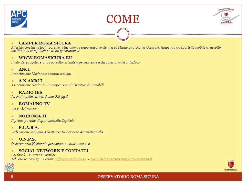 COME CAMPER ROMA SICURA Allestito con tutti i loghi partner, stazionerà temporaneamente nei 19 Municipi di Roma Capitale, fungendo da sportello mobile