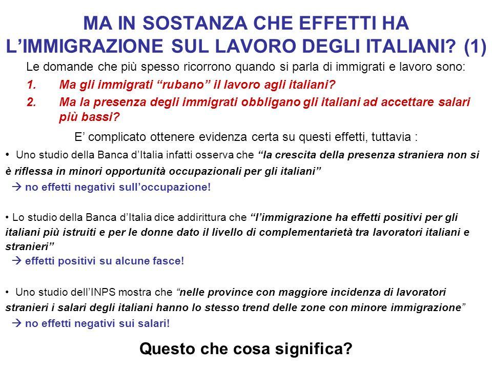 MA IN SOSTANZA CHE EFFETTI HA LIMMIGRAZIONE SUL LAVORO DEGLI ITALIANI? (1) Le domande che più spesso ricorrono quando si parla di immigrati e lavoro s