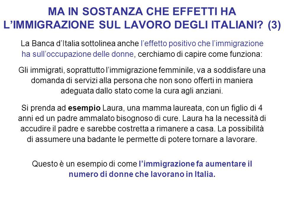 MA IN SOSTANZA CHE EFFETTI HA LIMMIGRAZIONE SUL LAVORO DEGLI ITALIANI? (3) La Banca dItalia sottolinea anche leffetto positivo che limmigrazione ha su