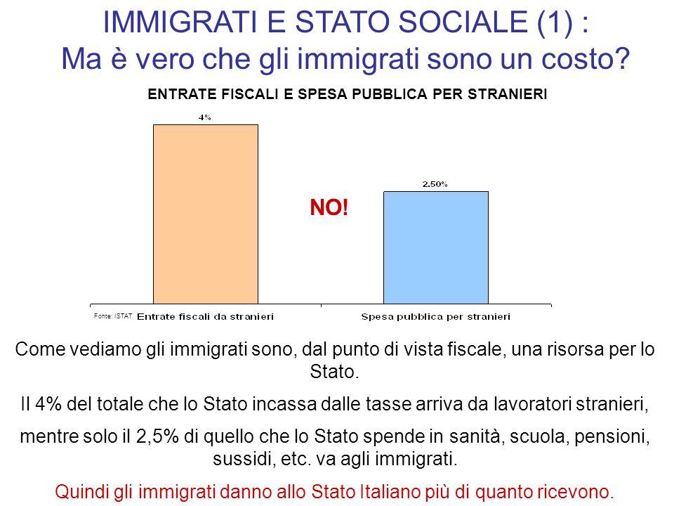 IMMIGRATI E STATO SOCIALE (1) : Ma è vero che gli immigrati sono un costo? Come vediamo gli immigrati sono, dal punto di vista fiscale, una risorsa pe