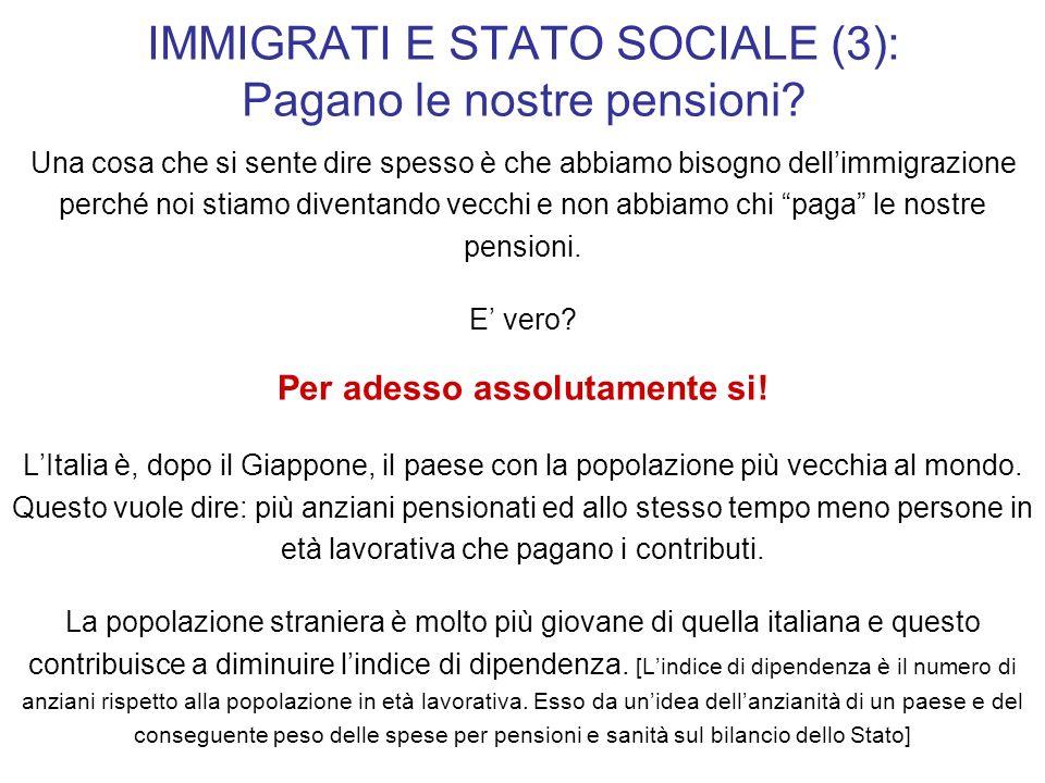 IMMIGRATI E STATO SOCIALE (3): Pagano le nostre pensioni? Una cosa che si sente dire spesso è che abbiamo bisogno dellimmigrazione perché noi stiamo d