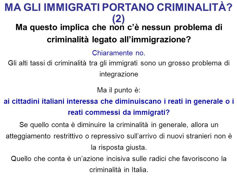 Ma questo implica che non cè nessun problema di criminalità legato allimmigrazione? Chiaramente no. Gli alti tassi di criminalità tra gli immigrati so