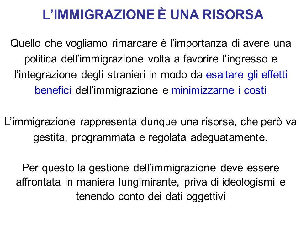 LIMMIGRAZIONE È UNA RISORSA Quello che vogliamo rimarcare è limportanza di avere una politica dellimmigrazione volta a favorire lingresso e lintegrazi