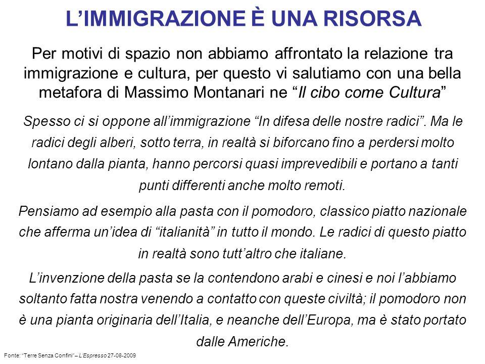 LIMMIGRAZIONE È UNA RISORSA Per motivi di spazio non abbiamo affrontato la relazione tra immigrazione e cultura, per questo vi salutiamo con una bella