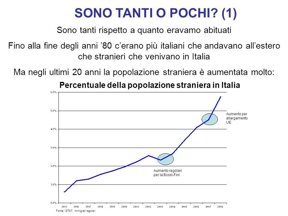 SONO TANTI O POCHI? (1) Sono tanti rispetto a quanto eravamo abituati Fino alla fine degli anni 80 cerano più italiani che andavano allestero che stra
