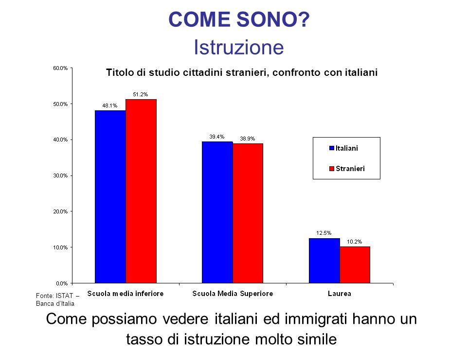 COME SONO? Istruzione Come possiamo vedere italiani ed immigrati hanno un tasso di istruzione molto simile Titolo di studio cittadini stranieri, confr