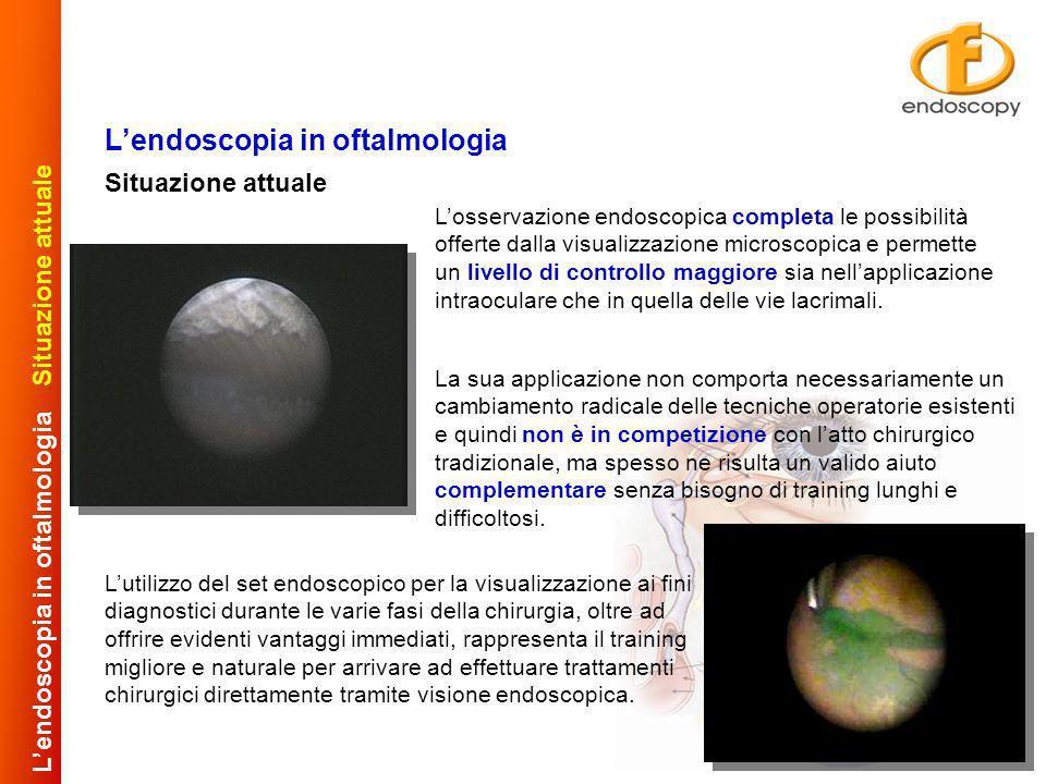 Situazione attuale Lendoscopia in oftalmologia Situazione attuale Lutilizzo del set endoscopico per la visualizzazione ai fini diagnostici durante le