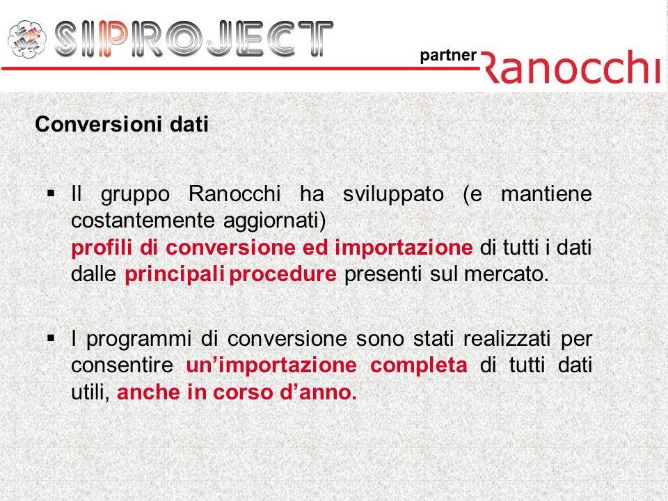 Il gruppo Ranocchi ha sviluppato (e mantiene costantemente aggiornati) profili di conversione ed importazione di tutti i dati dalle principali procedu