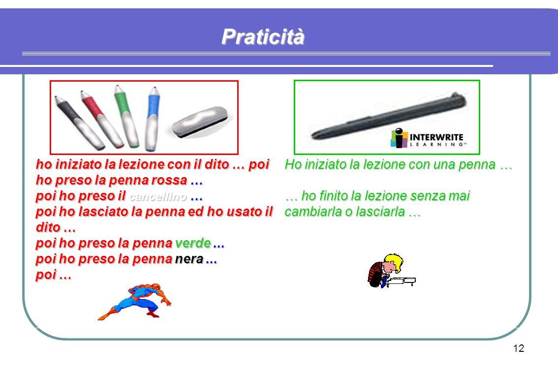 11 PROGETTO CLASSOTECA - CAMTSISTEMI S.r.l. - © dott. Sergio CAPPELLI Praticità Tasto dx Tasto sx mouse Unica penna per: milioni di colori milioni di