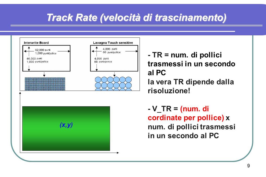 9 Track Rate (velocità di trascinamento) (x,y) - TR = num.