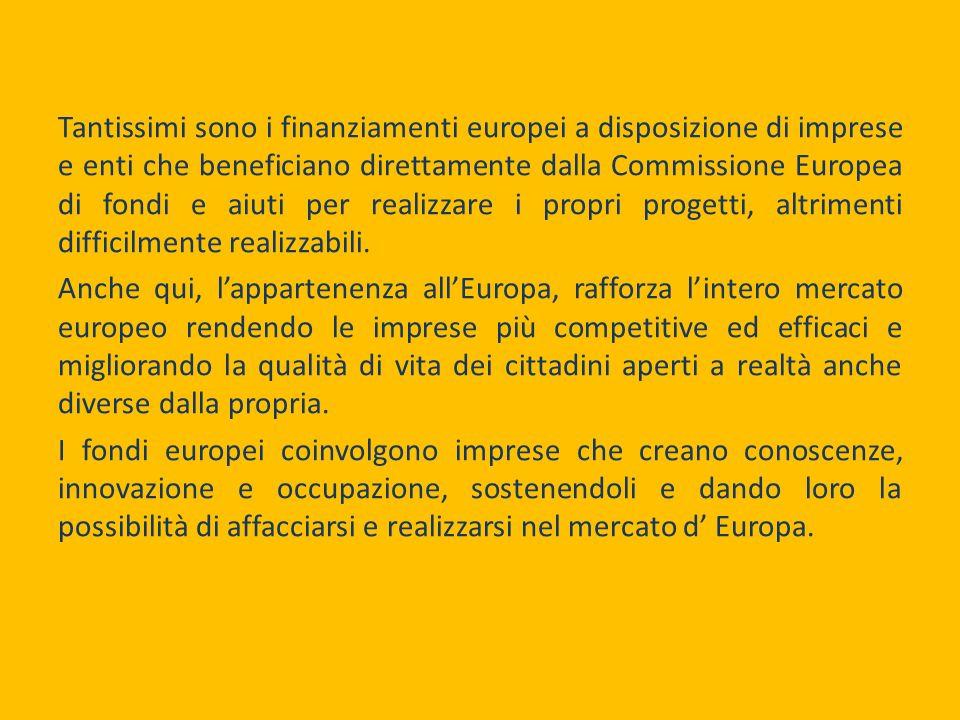 Tantissimi sono i finanziamenti europei a disposizione di imprese e enti che beneficiano direttamente dalla Commissione Europea di fondi e aiuti per realizzare i propri progetti, altrimenti difficilmente realizzabili.
