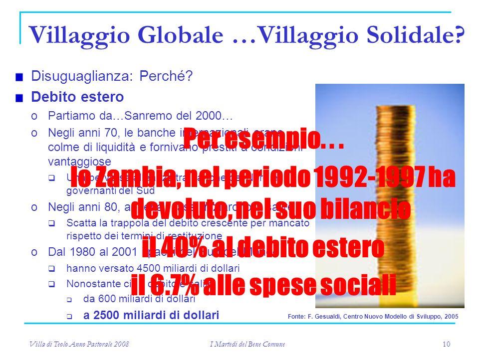 Villa di Teolo Anno Pastorale 2008 I Martedi del Bene Comune 10 Villaggio Globale …Villaggio Solidale.