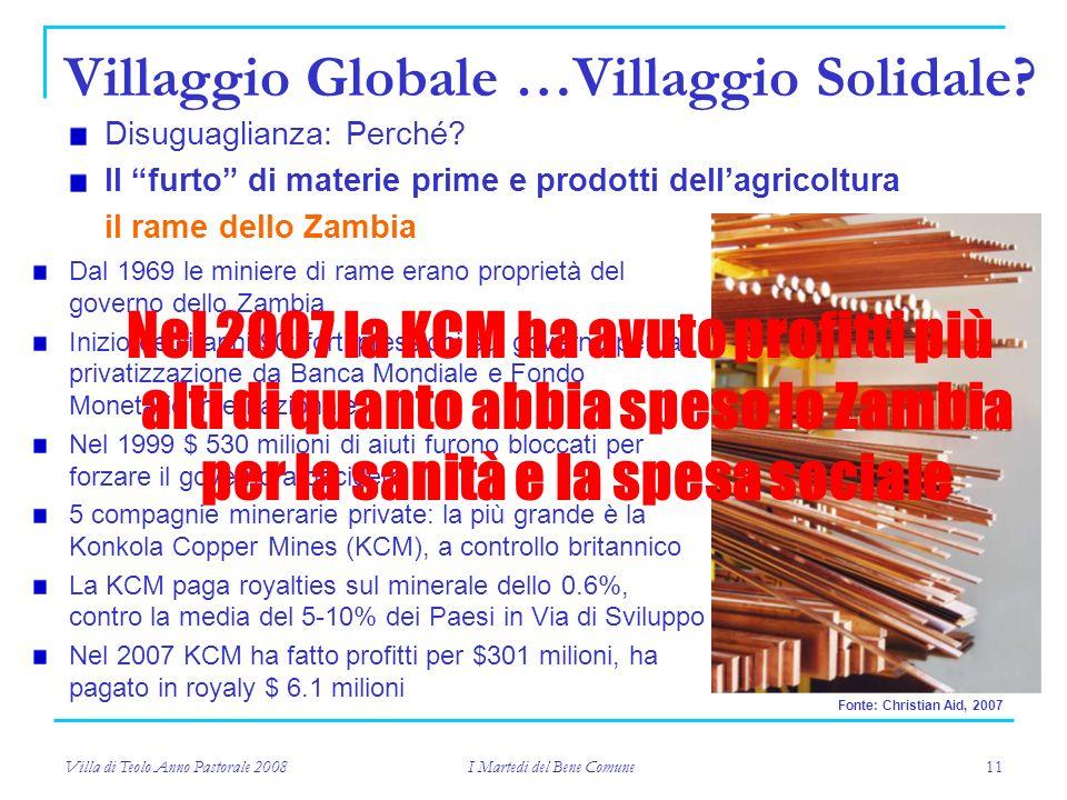 Villa di Teolo Anno Pastorale 2008 I Martedi del Bene Comune 11 Villaggio Globale …Villaggio Solidale.