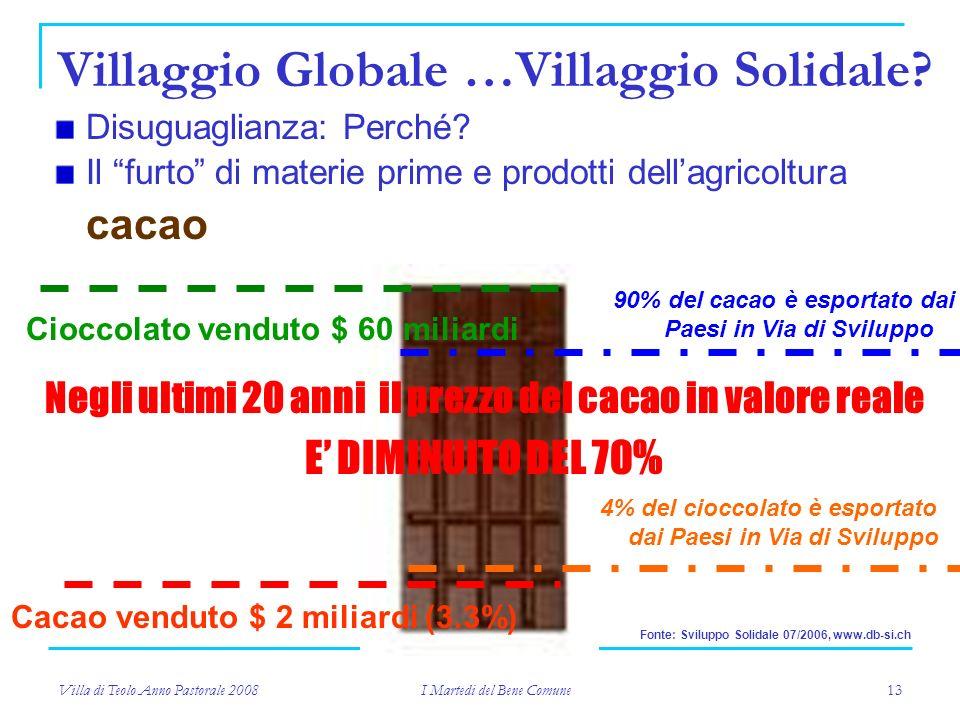 Villa di Teolo Anno Pastorale 2008 I Martedi del Bene Comune 13 Villaggio Globale …Villaggio Solidale.