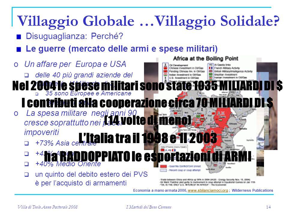Villa di Teolo Anno Pastorale 2008 I Martedi del Bene Comune 14 Villaggio Globale …Villaggio Solidale.