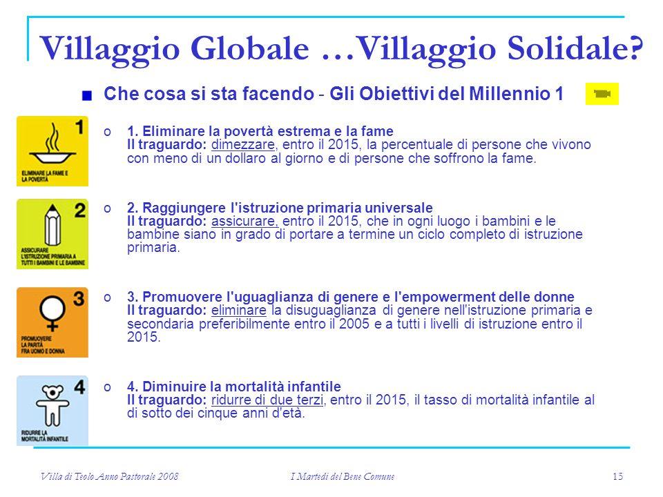 Villa di Teolo Anno Pastorale 2008 I Martedi del Bene Comune 15 Che cosa si sta facendo - Gli Obiettivi del Millennio 1 o1.