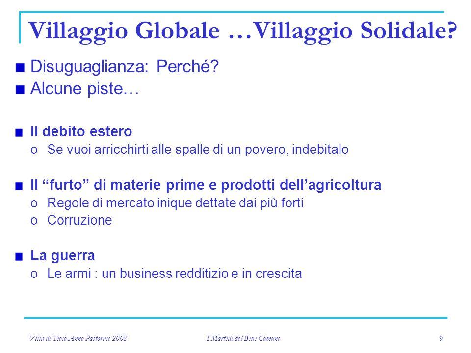 Villa di Teolo Anno Pastorale 2008 I Martedi del Bene Comune 9 Villaggio Globale …Villaggio Solidale.