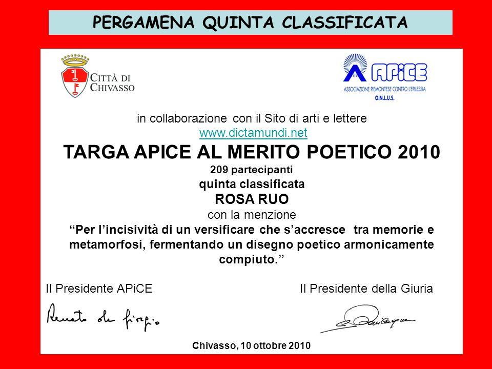 PERGAMENA QUINTA CLASSIFICATA in collaborazione con il Sito di arti e lettere www.dictamundi.net TARGA APICE AL MERITO POETICO 2010 209 partecipanti q
