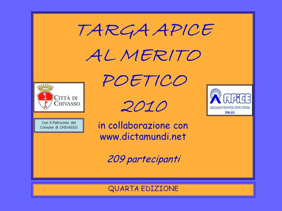 TARGA APICE AL MERITO POETICO 2010 in collaborazione con www.dictamundi.net 209 partecipanti QUARTA EDIZIONE Con il Patrocinio del Comune di CHIVASSO