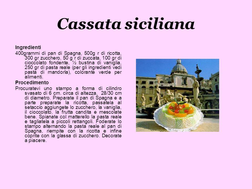 Cassata siciliana Ingredienti 400grammi di pan di Spagna, 500g r di ricotta, 300 gr zucchero, 50 g r di zuccata, 100 gr di cioccolato fondente, ½ bust