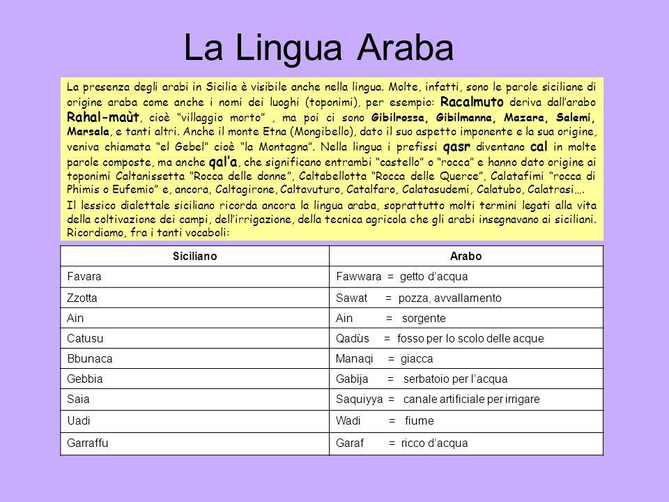La Lingua Araba La presenza degli arabi in Sicilia è visibile anche nella lingua. Molte, infatti, sono le parole siciliane di origine araba come anche