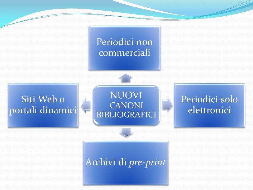 NUOVI CANONI BIBLIOGRAFICI Periodici non commerciali Periodici solo elettronici Archivi di pre-print Siti Web o portali dinamici