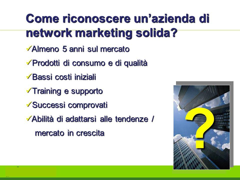 Come riconoscere unazienda di network marketing solida? Almeno 5 anni sul mercato Almeno 5 anni sul mercato Prodotti di consumo e di qualità Prodotti