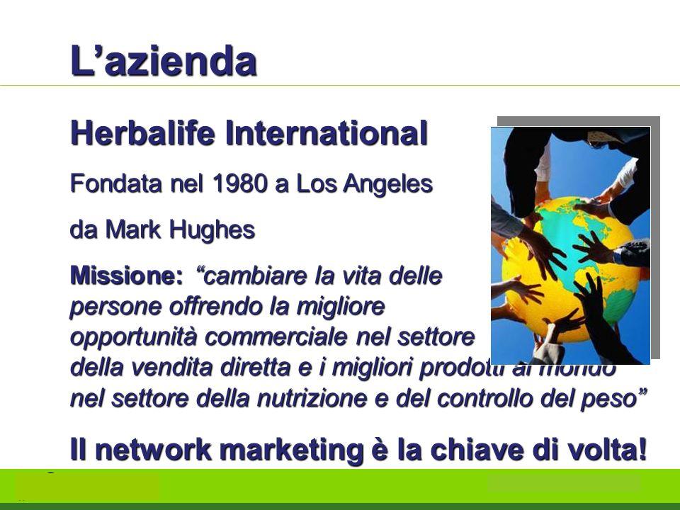 Lazienda Herbalife International Fondata nel 1980 a Los Angeles da Mark Hughes Missione: cambiare la vita delle persone offrendo la migliore opportuni