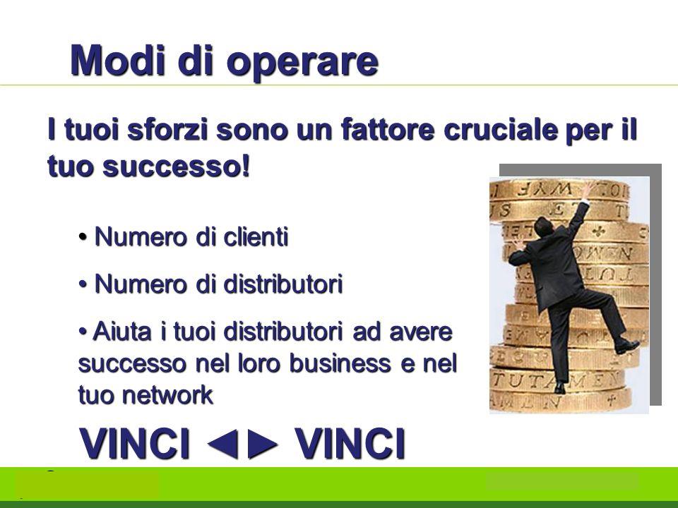 Modi di operare I tuoi sforzi sono un fattore cruciale per il tuo successo! Numero di clienti Numero di clienti Numero di distributori Numero di distr
