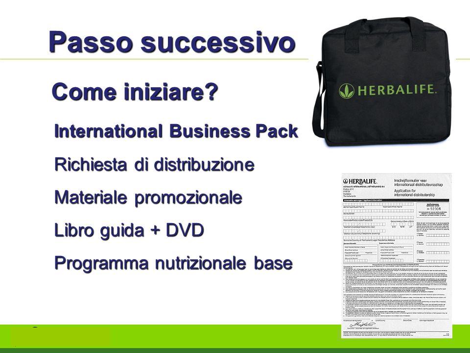 Passo successivo Come iniziare? International Business Pack Richiesta di distribuzione Materiale promozionale Libro guida + DVD Programma nutrizionale