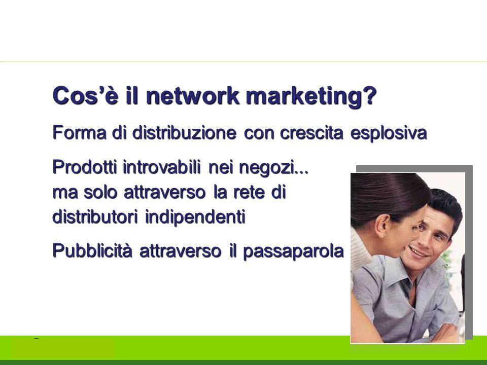 Cosè il network marketing? Forma di distribuzione con crescita esplosiva Prodotti introvabili nei negozi... ma solo attraverso la rete di distributori