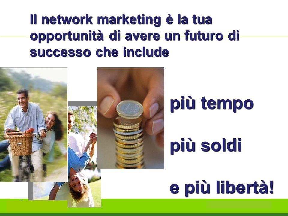 Il network marketing è la tua opportunità di avere un futuro di successo che include più tempo più soldi e più libertà!